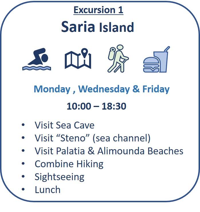 Εκδρομή 1: Νήσος Σαρία Επίσκεψη σε θαλάσσιο σπήλαιο, θαλάσσιο κανάλι «στενό», παραλίες Παλάτια, Αλιμούδα, Γιάπλος, Μέρια, Μονοπάτια πεζοπορίας, αξιοθέατα, μεσημεριανό γεύμα