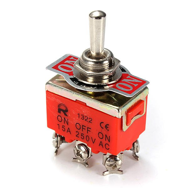 6 Pin Toggle switch ON/OFF/ON 15A 250V DPDT