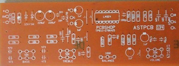 Stereo Pre Amplifier (LM324) 12V-30V Dual supply