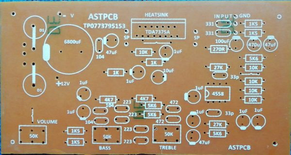 TDA7375A 37W+37W Stereo Amplifier with Tone Control 12VAC / 12VDC