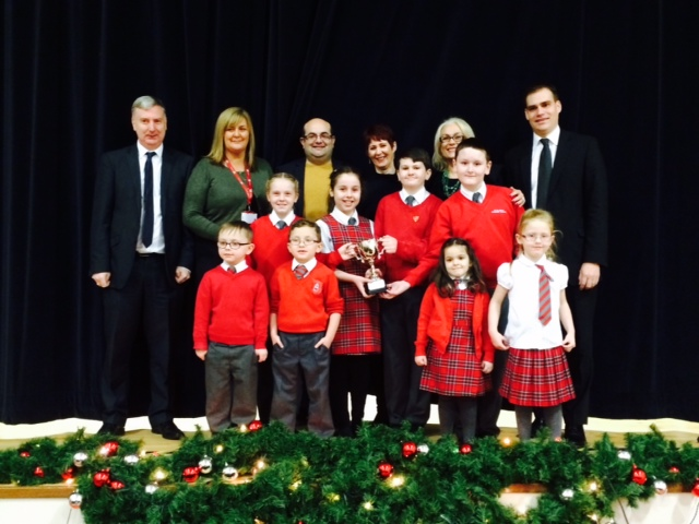 St Blanes pupils, staff, parents, local MSP James Kelly and MP Tom Greatrex and Nil By Mouth's Jennifer Henderson with the special award.