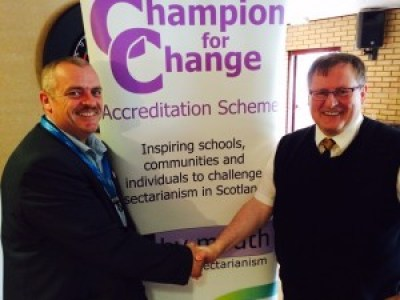 Cllr Archie Dryburgh and Annan Athletic Chairman Henry McClelland throw their weight behind our schools programme