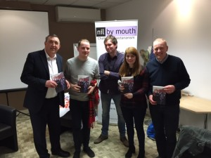 The team from Albion Rovers celebrate their Kiss Bigotry Goodbye quiz victory in Bellshill