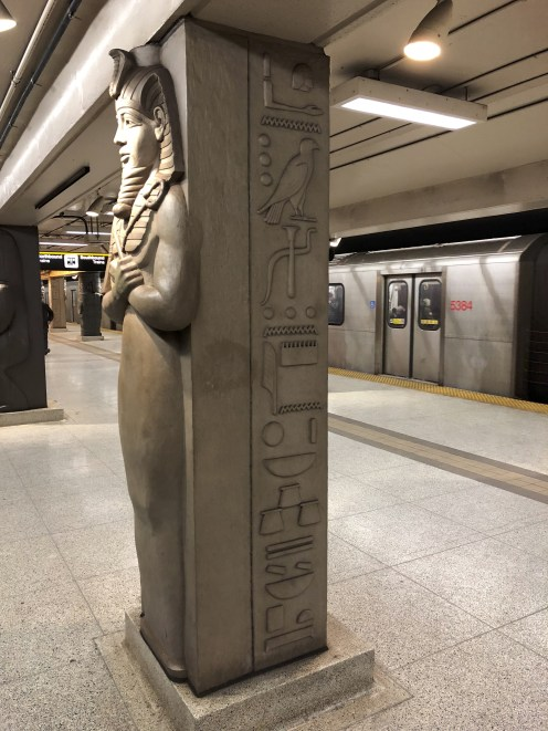 Looking at the Osiris Pilaster with its hieroglyphic inscription