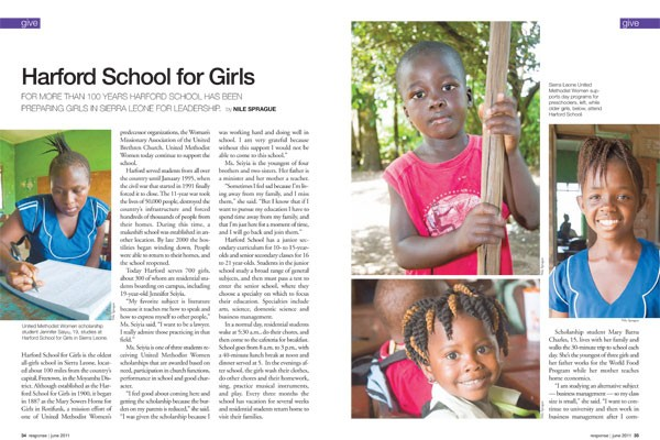Harford School for Girls and Moyamba Daycare Magazine article