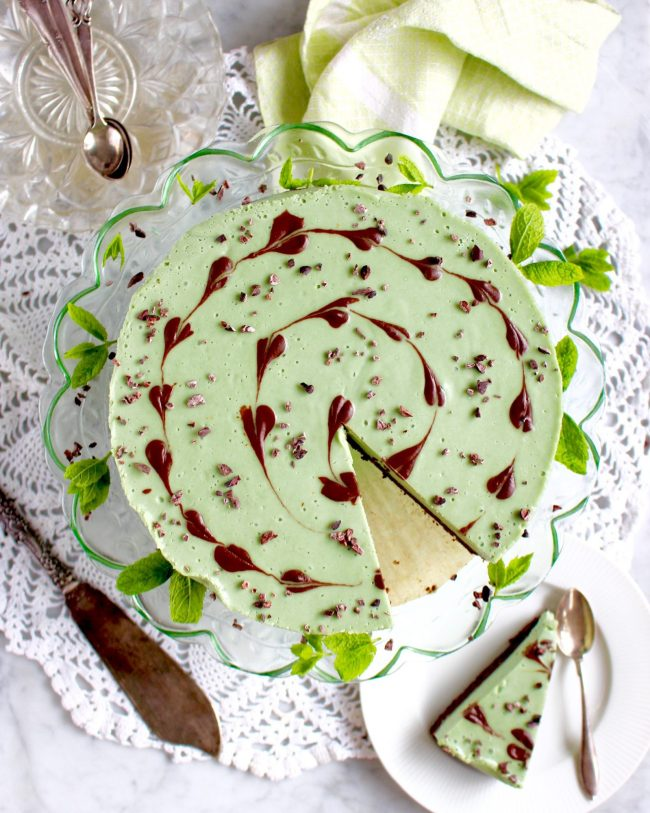 Raw food mint cheesecake with brownie crust