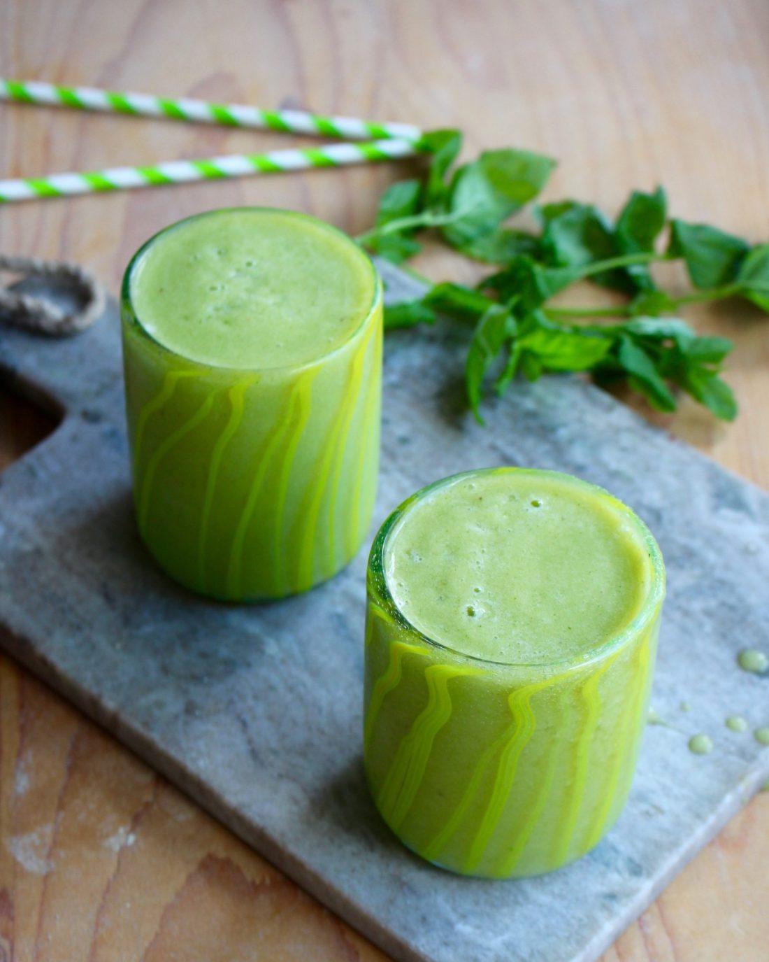 myntasmoothie, grön smoothie