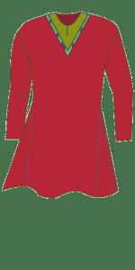 The Skjoldehamn tunic with V-neckline. Skjoldehamnkoften med V-hals