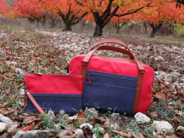 Nils & Emi pochette voyage rouge made in france