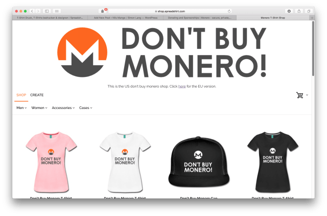 Don't Buy Monero T-Shirt Shop