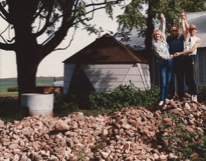 Me, Dad and my sister, Anne, on top of our rock pile, 1986.