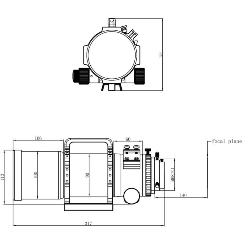 Omegon Apochromatic refractor Pro APO AP 72/400 Quintuplet OTA