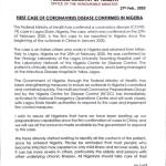Index case of coronavirus confirmed in Nigeria