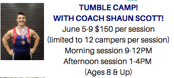 Tumble Camp with Coach Shaun Scott June 5th-9th