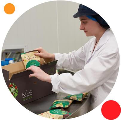 Nim's Fruit Crisps Factory Packing Boxes