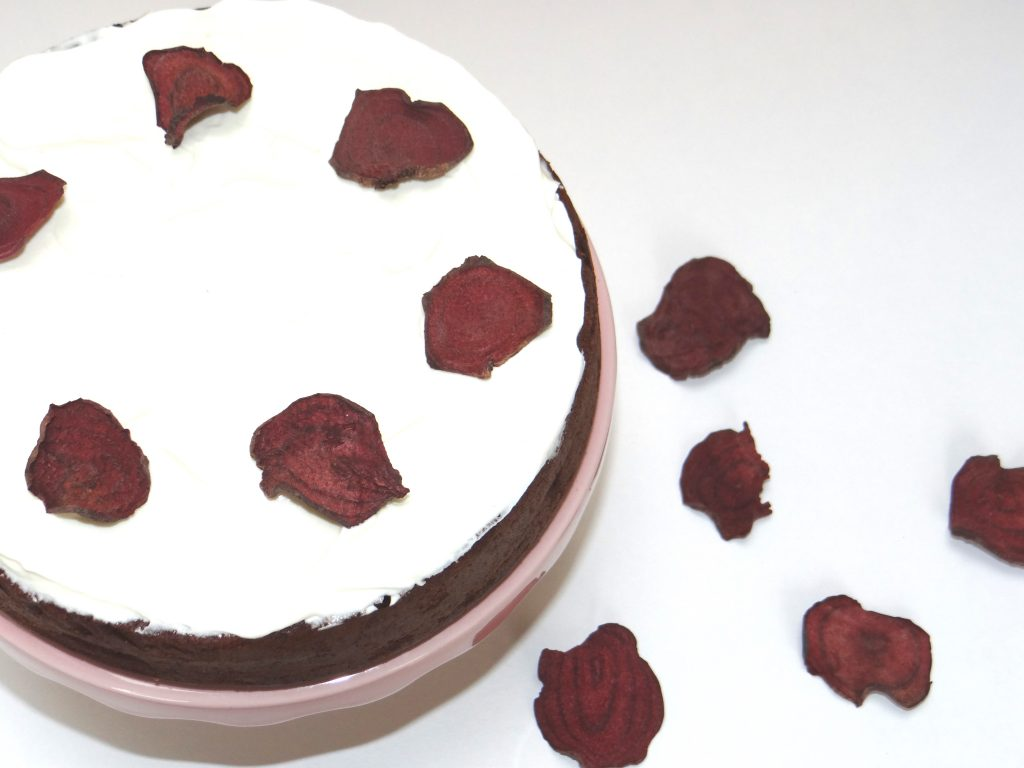 Beetroot and Chocolate Cake decorated with Nim's Beetroot Vegetable Crisps