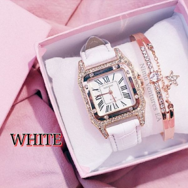 Women Watches Leather Band Quartz Watches Casual Geneva Lady Watch Ladies with Bracelet gold white