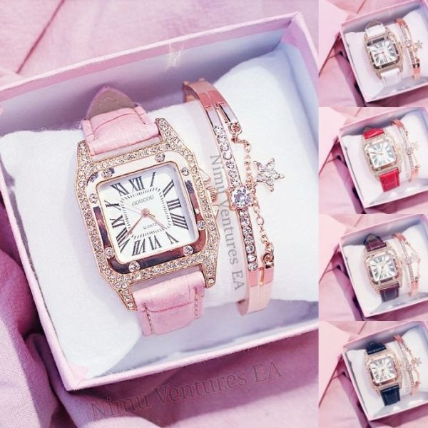 Women Watches Leather Band Quartz Watches Casual Geneva Lady Watch Ladies with Bracelet gold