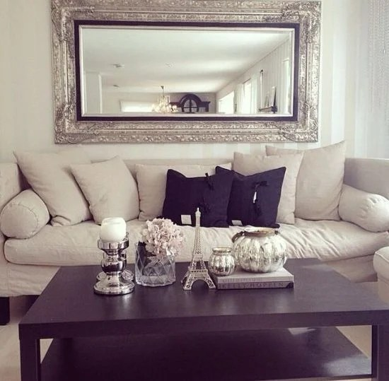 large decorative mirrors for living room ideas with tv on wall 20 gorgeous rooms image via www ultimatehomeideas com