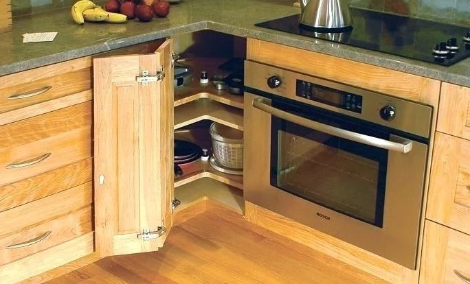 kitchen corner cabinet building your own cabinets 20 different types of ideas for the most common way that utilizes a is lazy susan these pie shaped can be placed above or below counter