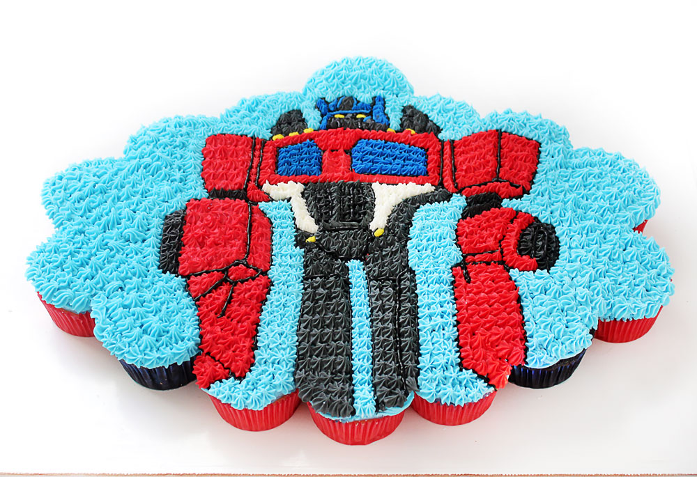 Optimus Prime Cupcakes | Cupcakes placed together to form a picture