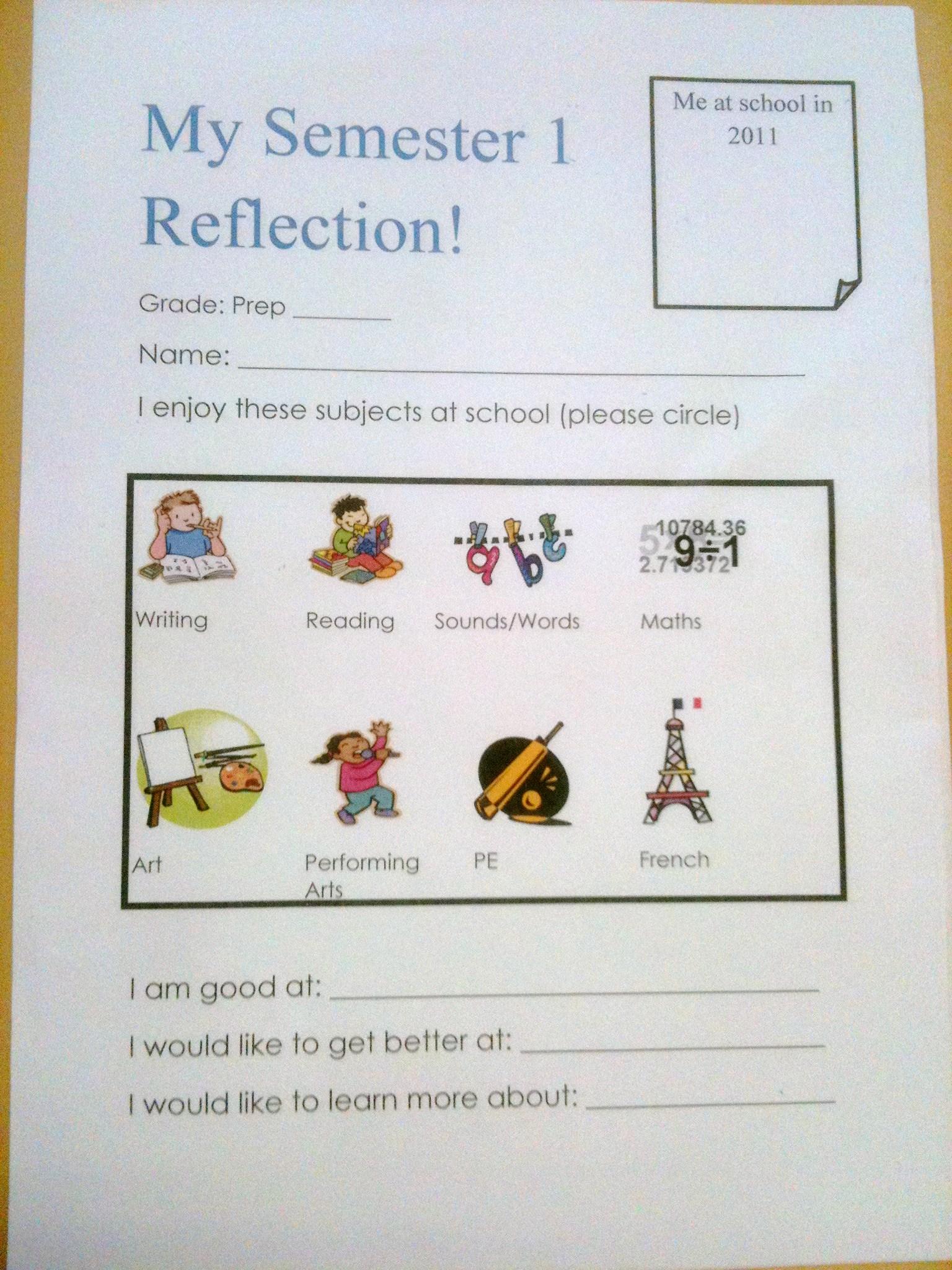 Prep  1st Semester Student Reflection Setting goals for Semester 2  Nina Davis Teaching