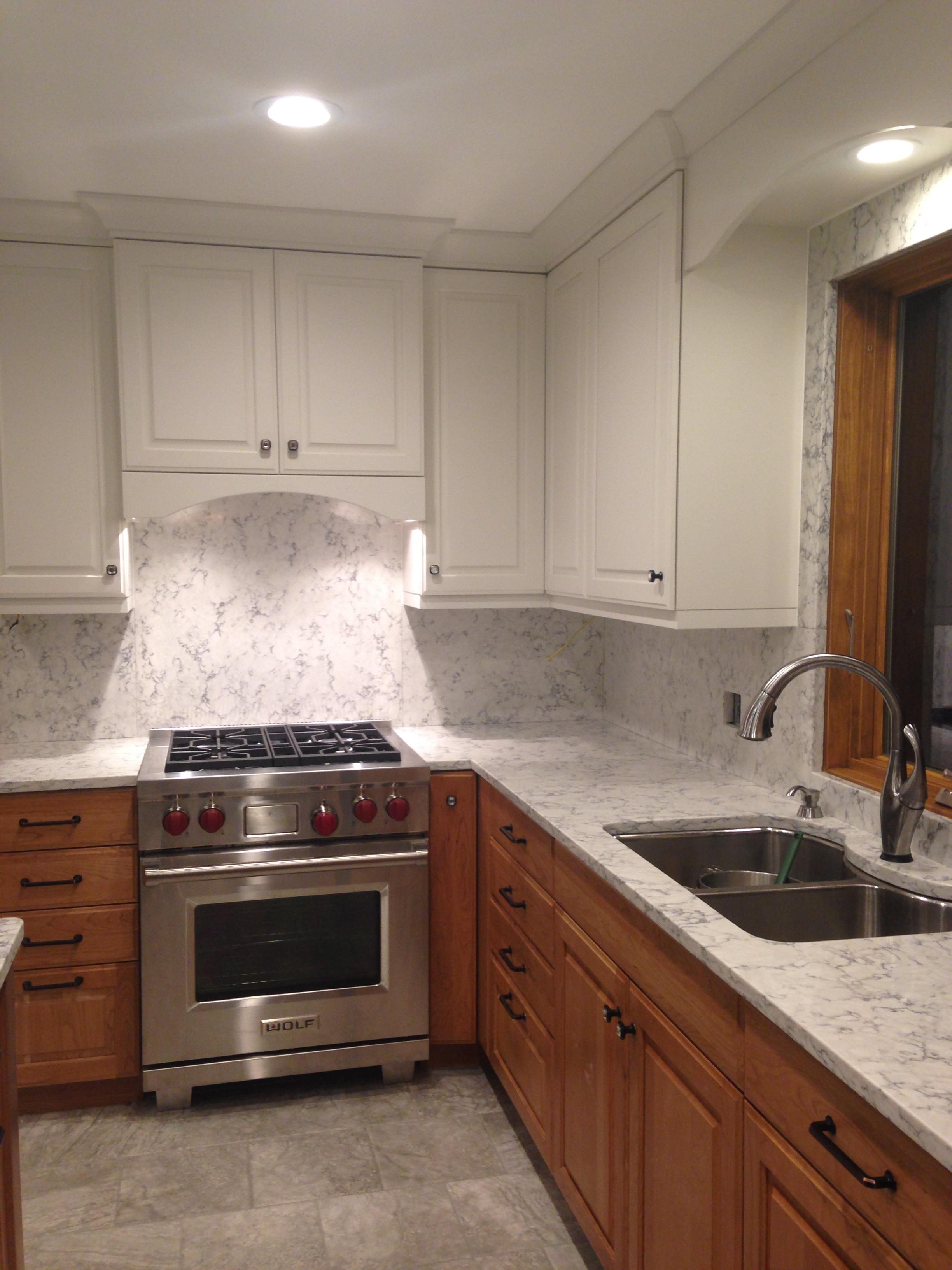 kitchen sink pendant light under cabinet shelving my re-do! quartz backsplash | nina in the