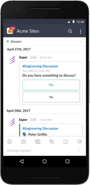 Esper Agenda a way to create and distribute meeting agendas via Slack