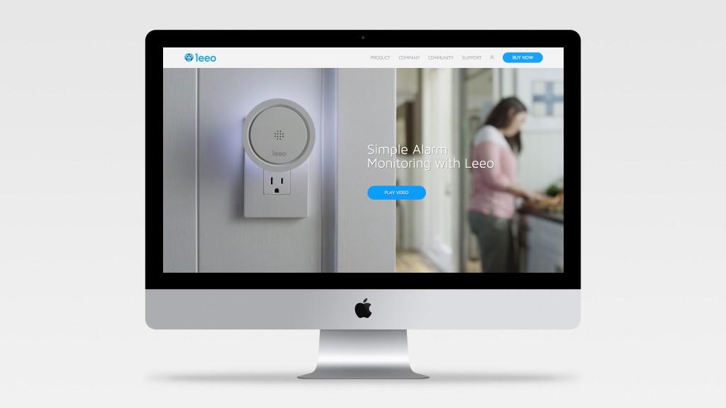Leeo Launch Website Desktop view on a Monitor