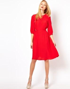 ASOS – Ausgestelltes Kleid mit Lasche in der Taille