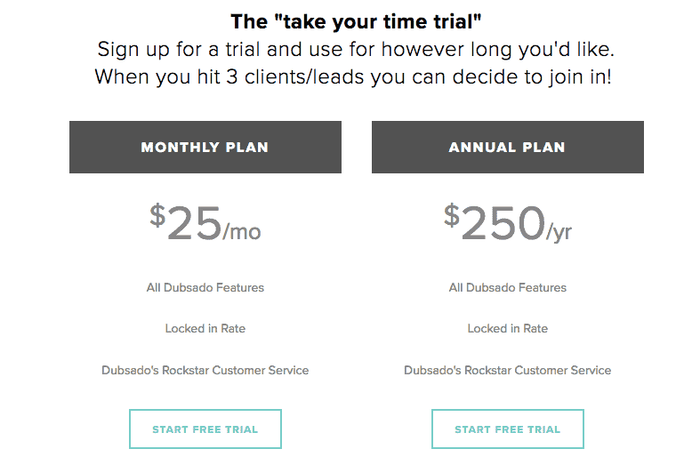freelancer crm dubsado pricing