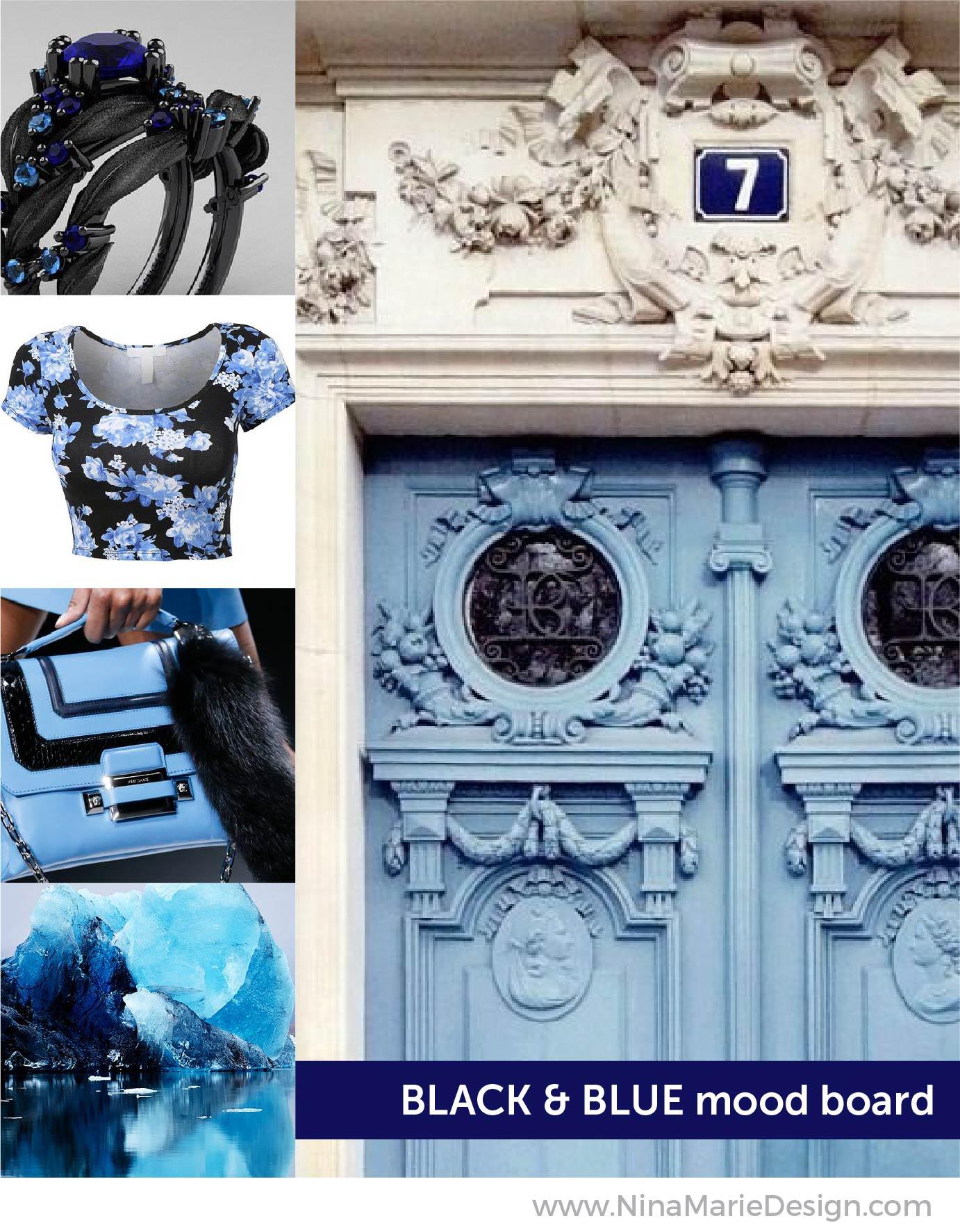 Black and Blue Mood Board   Nina-Marie Design