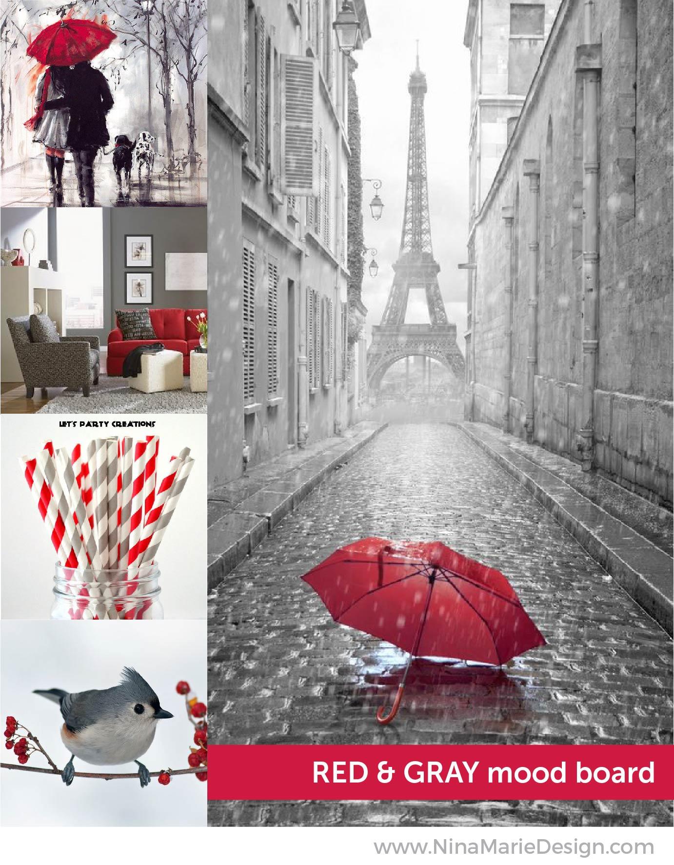 Red & Gray Color Mood Board   Nina-Marie Design
