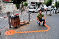 our friend in Ramalllah with his friend Dia Barghouti's art