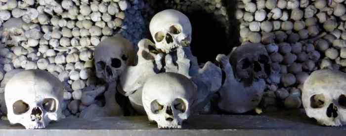 Skulls at an Altar at the Bone Church