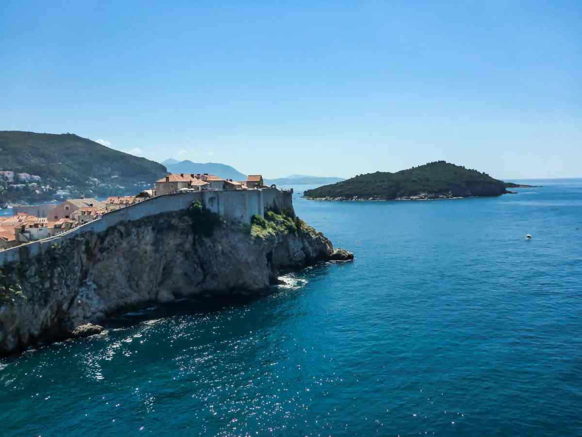 lokrum island view from city walls of dubrovnik