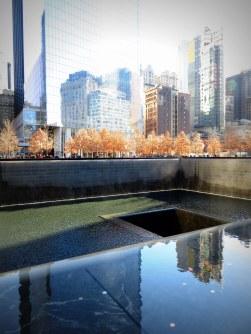 Remembering at the 9/11 Memorial.