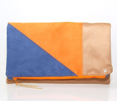 Clutch in orange blau und braun