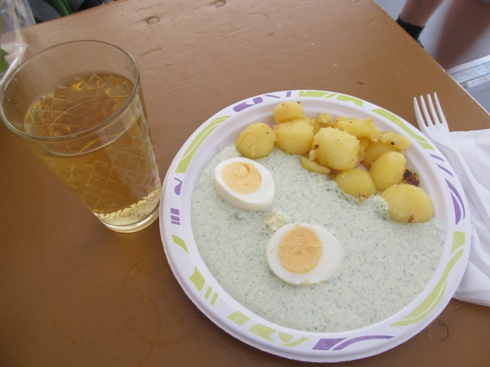 Traditional green sauce with eggs and potatoes