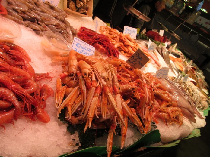 Seafood at the market in Barcelona