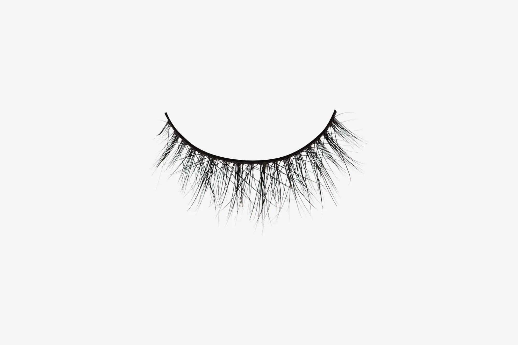 Amelia Mink Lashes, single false lash on grey background