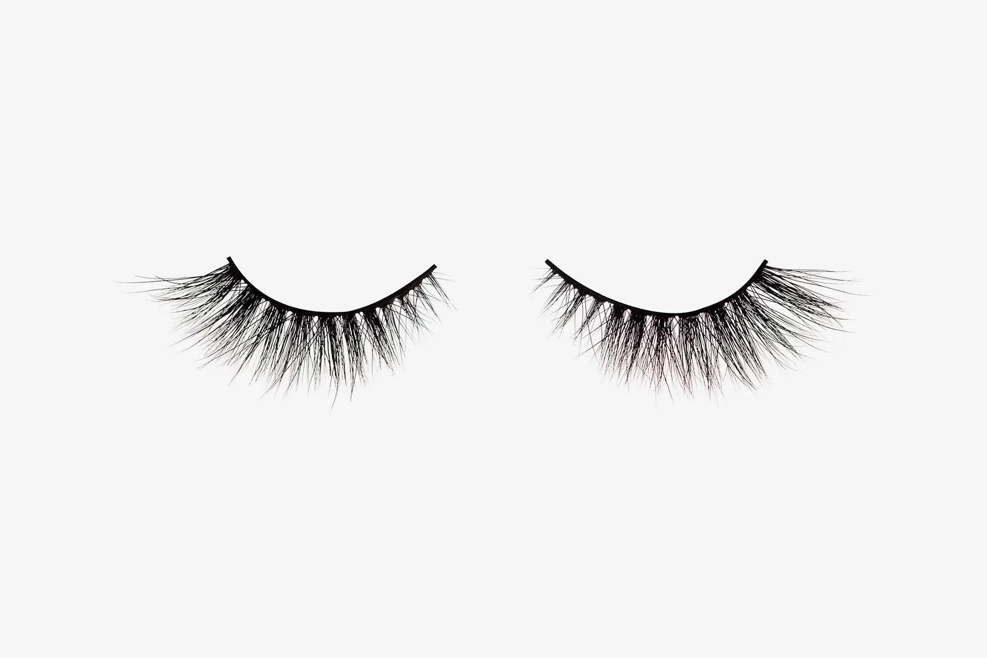 Anya Mink Lashes, two false eyelashes side by side on grey background