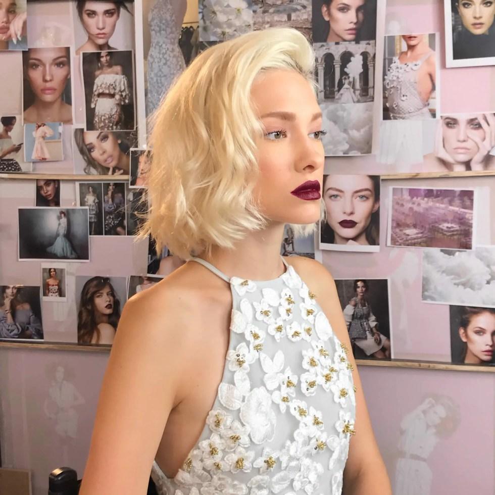 Event Makeup Model with dark lipstick