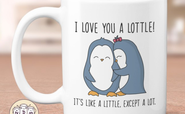 I Love You A Lottle Cute Penguin Mug Christmas Gift For