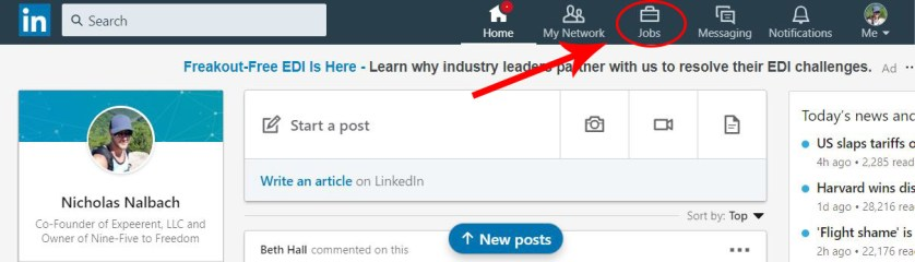 """Arrow pointing to the """"Jobs"""" tab at the top of the LinkedIn page."""