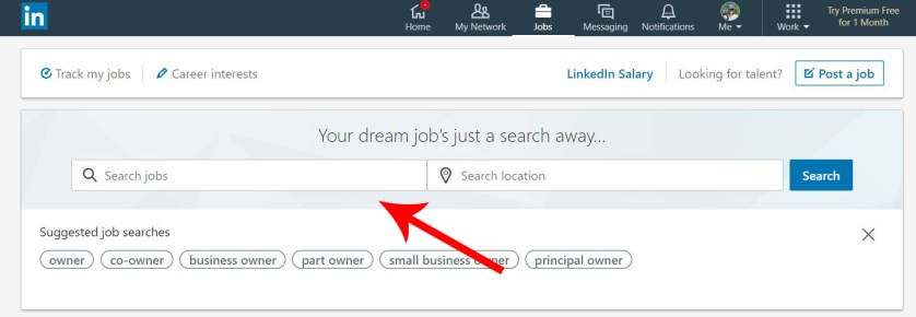 Linkedin job search with an arrow pointing to the search field for finding jobs.