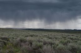 The storm on our heels as we left Steens. Blue skies just an hour before, the weather does change quick. And I need to learn to photograph lightning.