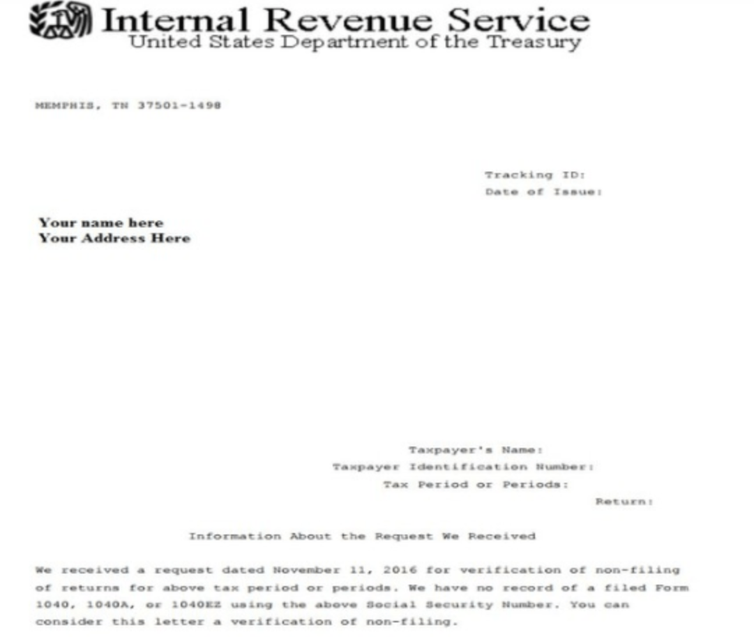 Non Filing Letter Irs