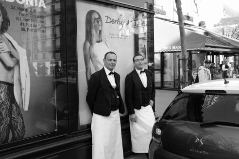 Waiters on the Left Bank, Paris. March 2014.