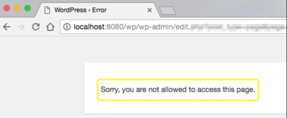 Sorry, You Are Not Allowed to Access This Page Error